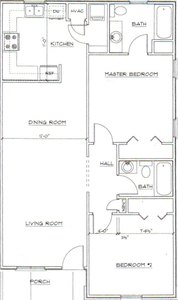 J. Timms and Company, Inc.. Chinquapin Commons, Greenwood, SC - Floor Plan 2 Bedrooms. Click here for a larger printable view pop up window.